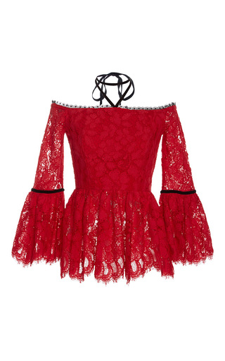 Medium alexis red grace halter lace top