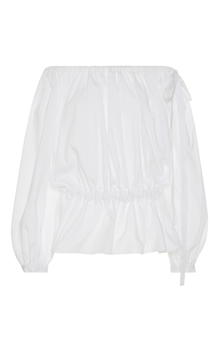 Medium rochas white off the shoulder peplum top