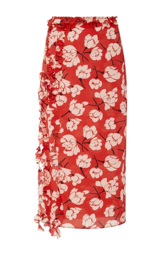 Medium rochas red ruffle trimmed floral print silk skirt