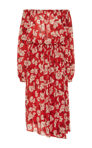 Medium rochas red magnolia off the shoulder dress