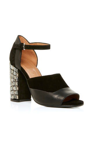 Medium marni black crystal embellished heel sandal