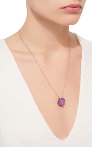 18 K Rose Gold Raw Ruby Pendant Necklace by KARMA EL KHALIL Now Available on Moda Operandi