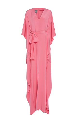 Medium monique lhuillier pink cascading sleeve caftan