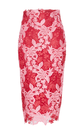 Medium monique lhuillier pink floral embroidered pencil skirt