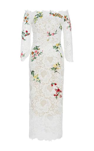 Medium monique lhuillier white off the shoulder pencil dress