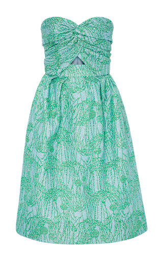 Medium monique lhuillier green strapless dress with cut out