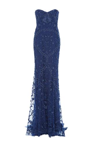 Medium monique lhuillier navy beaded strapless gown