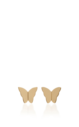 Medium efva attling gold little miss butterfly earrings
