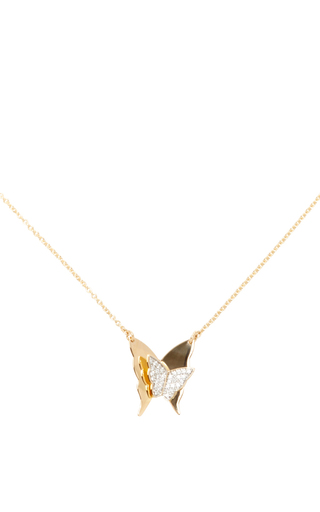 Medium efva attling gold little miss butterfly stars necklace