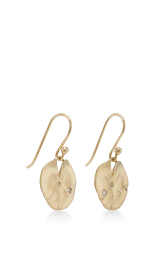 18 K Gold Small Lily Pad Earrings by ANNETTE FERDINANDSEN Now Available on Moda Operandi