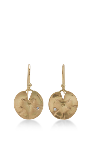 Medium annette ferdinandsen gold 18k gold small lilly pad earrings