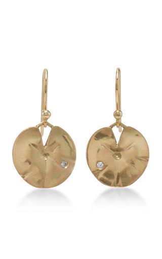 Medium annette ferdinandsen gold 18k gold medium lilly pad earrings