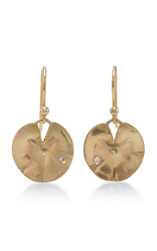 Medium annette ferdinandsen gold 18k gold medium lilly pad earrings