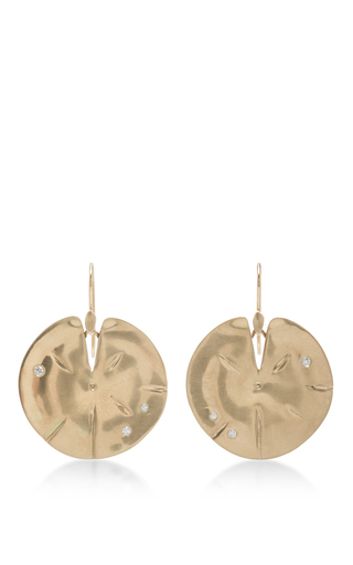 Medium annette ferdinandsen gold 18k gold large lilly pad earrings