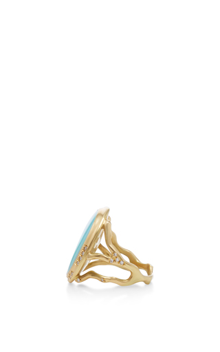 18 K Gold Opal Branch Ring by ANNETTE FERDINANDSEN Now Available on Moda Operandi
