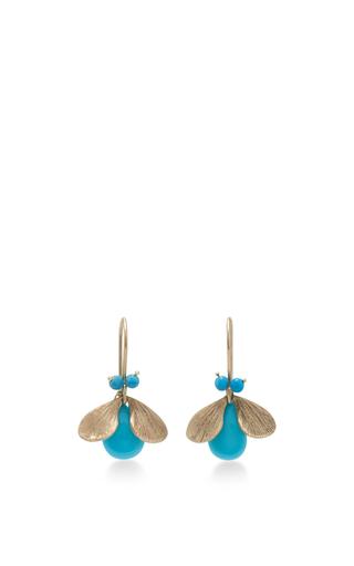 Medium annette ferdinandsen gold 18k gold turquoise bug earrings