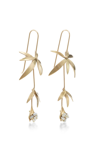 18 K Gold Wildflower Earrings by ANNETTE FERDINANDSEN Now Available on Moda Operandi