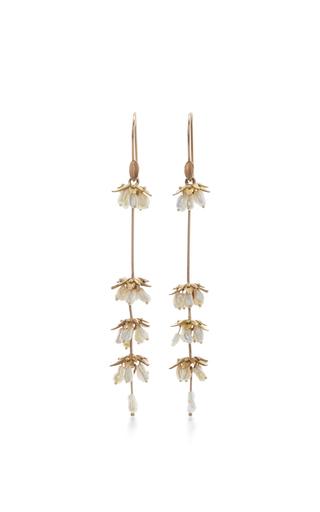 Medium annette ferdinandsen gold 18k gold lavender flower earrings
