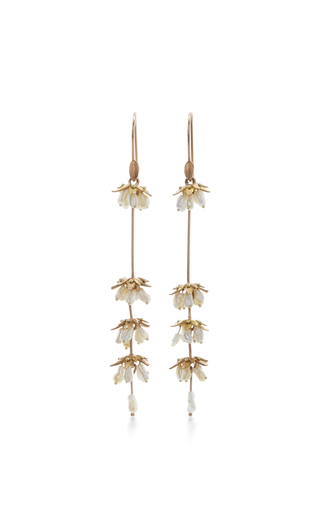 Medium annette ferdinandsen gold 18k gold lavender flower earrings