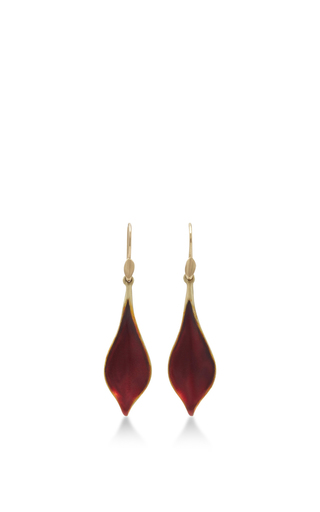 Medium annette ferdinandsen red 18k gold crocus petal earrings