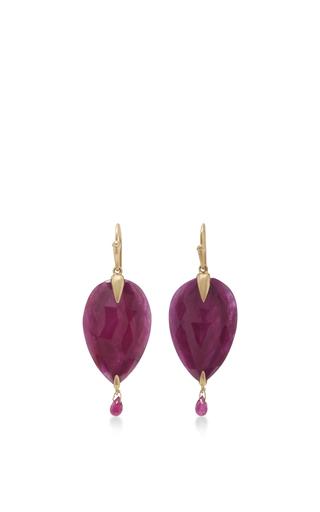 Medium annette ferdinandsen red 18k simple bird earrings