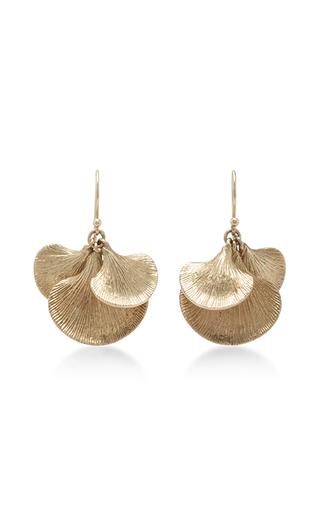 Medium annette ferdinandsen gold 14k gold ginko cluster earrings