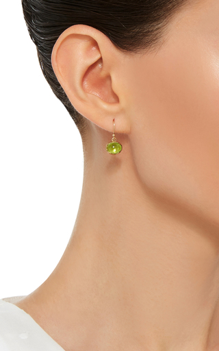 18 K Gold Peridot Egg Earrings by ANNETTE FERDINANDSEN Now Available on Moda Operandi