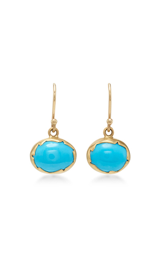 Medium annette ferdinandsen blue 18k gold turquoise egg earrings