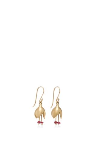 18 K Gold Ruby Bud Earrings by ANNETTE FERDINANDSEN Now Available on Moda Operandi