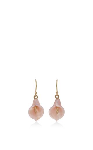 Medium annette ferdinandsen pink 18k gold calla lilly earrings