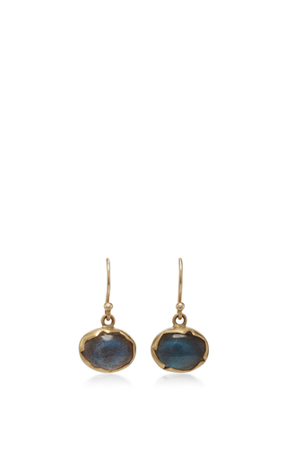 Medium annette ferdinandsen blue 18k gold labradorite egg earrings