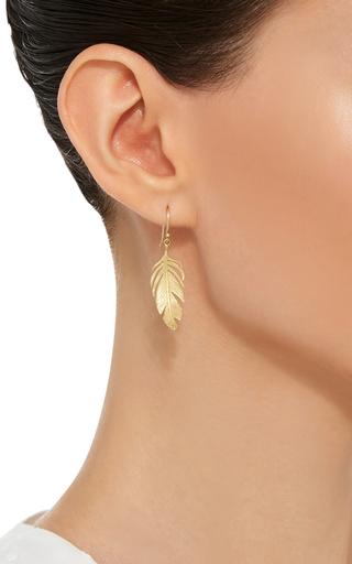 18 K Gold Large Feather Earrings by ANNETTE FERDINANDSEN Now Available on Moda Operandi