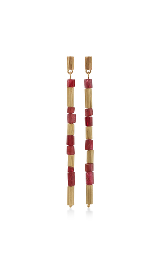 Medium annette ferdinandsen red 14k gold reed earrings