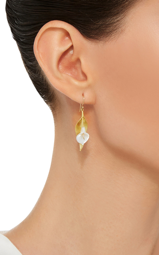 18 K Gold Large Calla Lily Earrings by ANNETTE FERDINANDSEN Now Available on Moda Operandi