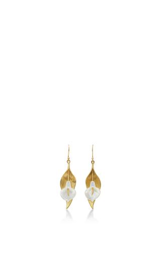 Medium annette ferdinandsen white 18k gold large cala lilly earrings