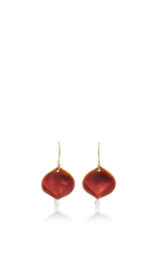 Medium annette ferdinandsen red 18k gold rose petal earrings