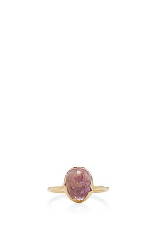 Medium annette ferdinandsen pink 18k gold topaz egg stacking ring