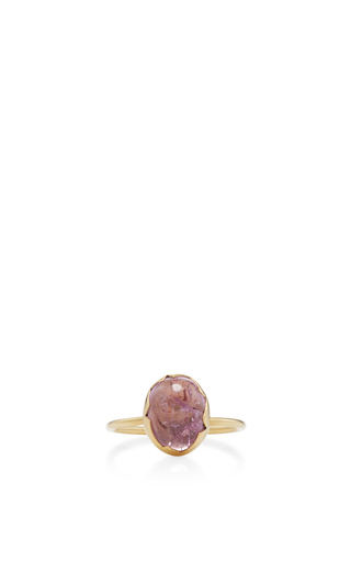 Medium annette ferdinandsen pink 18k gold topaz egg stacking ring