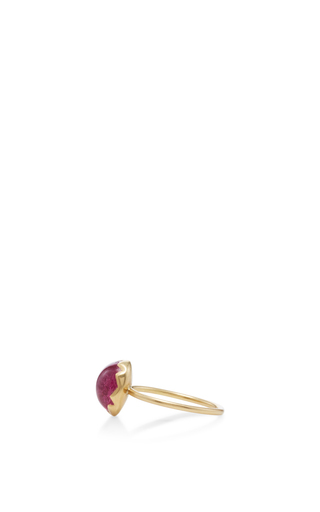 18 K Gold Rubellite Egg Ring by ANNETTE FERDINANDSEN Now Available on Moda Operandi