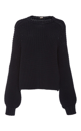 Medium adam lippes black chunky cotton crewneck pullover