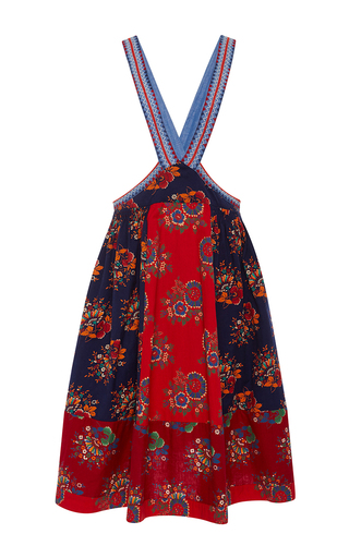Medium ulla johnson multi azra patchwork floral pinafore skirt