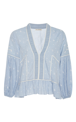 Medium ulla johnson light blue eienne ruffled peplum blouse