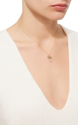14 K Gold Pave Diamond Cluster Drop Necklace by DANA KELLIN Now Available on Moda Operandi