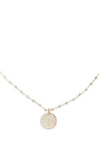 Medium dana kellin gold 14k gold diamond lab stations pendant necklace