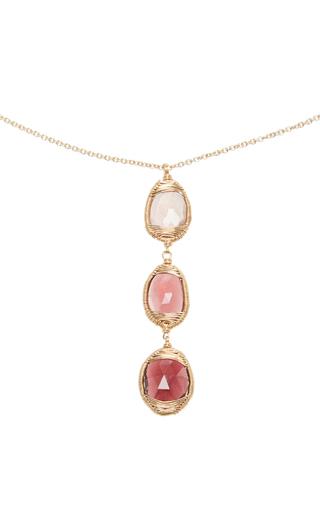 14 K Gold Pink Tourmaline Pendant Necklace by DANA KELLIN Now Available on Moda Operandi