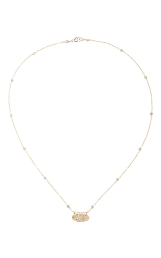14 K Gold Diamond Oval Pendant Necklace by DANA KELLIN Now Available on Moda Operandi