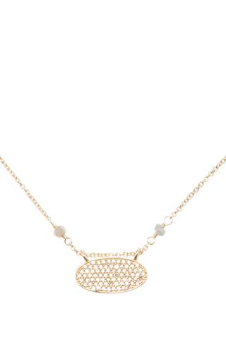 Medium dana kellin gold 14k gold diamond oval pendant necklace