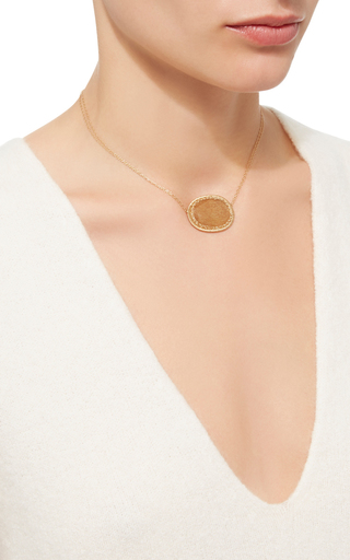 14 K Gold Sunstone Pendant Necklace by DANA KELLIN Now Available on Moda Operandi