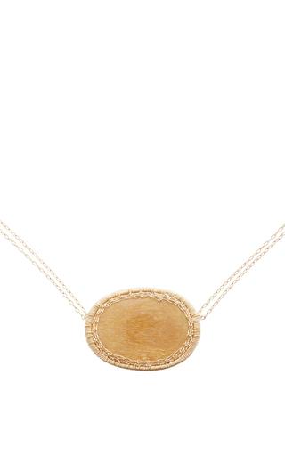 Medium dana kellin yellow 14k gold sunstone pendant necklace