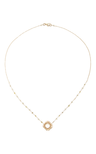 14 K Gold Rosary Slice Pendant Necklace by DANA KELLIN Now Available on Moda Operandi